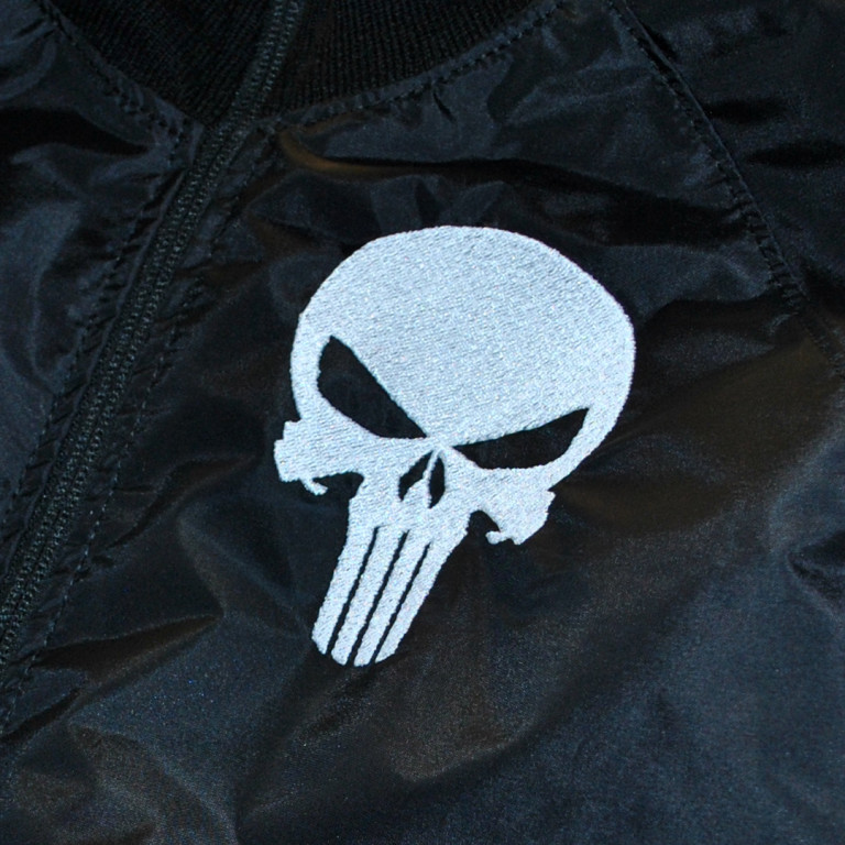 embroidered skull in the chest area